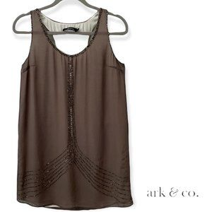 ark & co. brown shift dress, seed beads size small